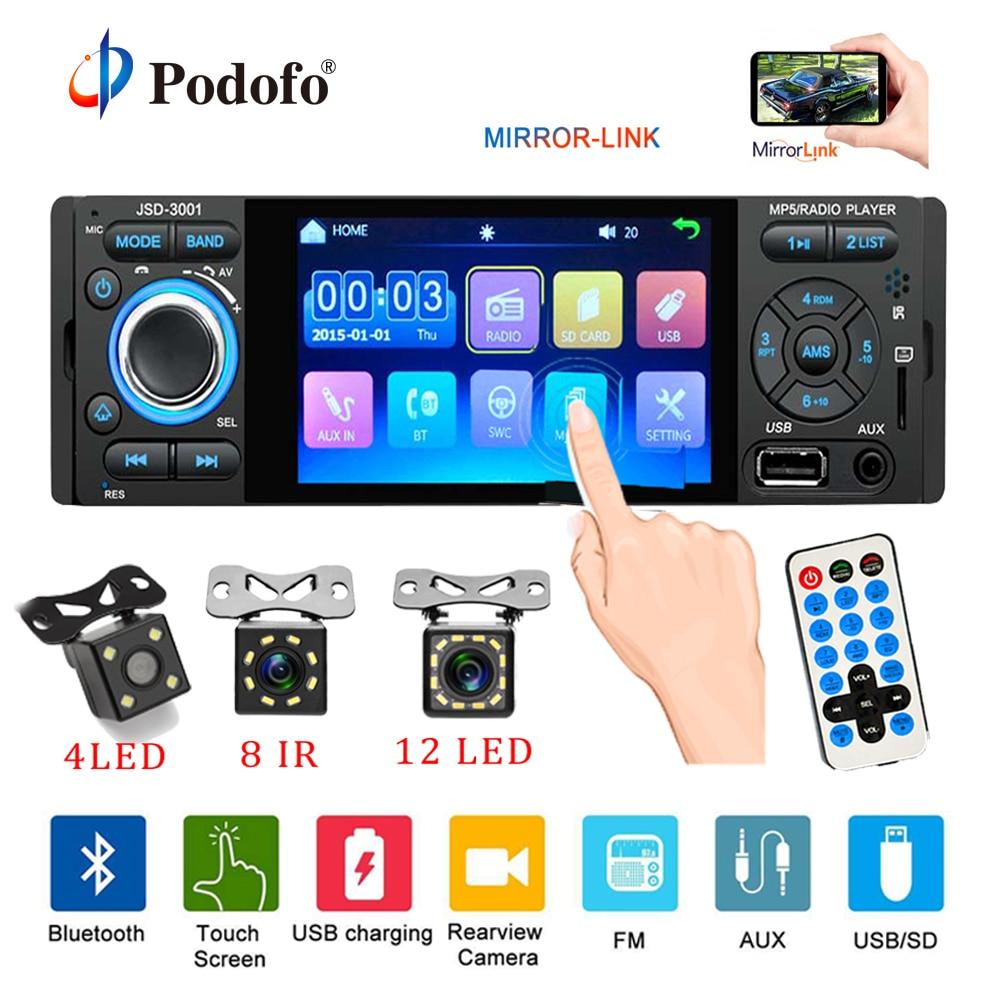 Podofo Radio de coche 1din jsd-3001 autoradio pantalla táctil de 4 pulgadas de Audio de enlace espejo Bluetooth cámara de Vista trasera usb aux jugador