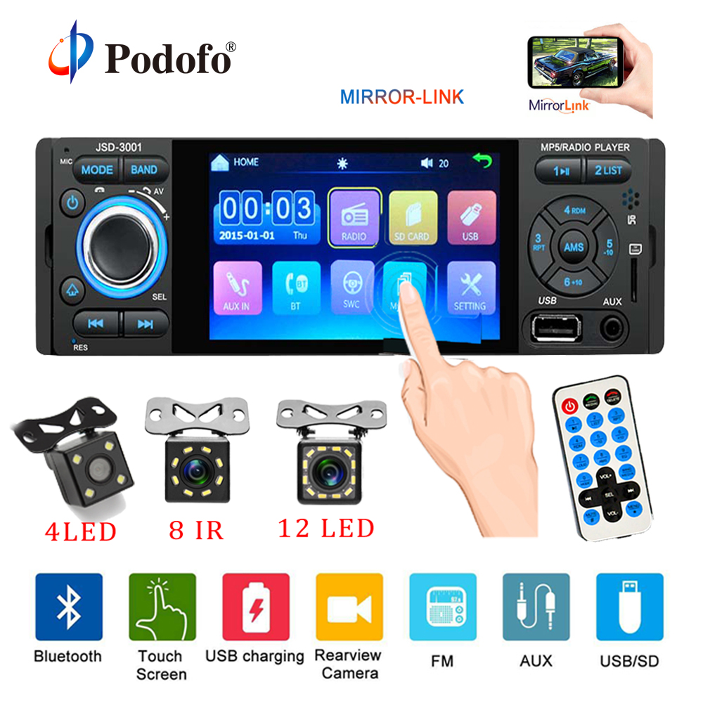Podofo Auto Radio 1din jsd-3001 autoradio 4 zoll Touch Screen Audio Spiegel Link Stereo Bluetooth Rückansicht Kamera usb aux player