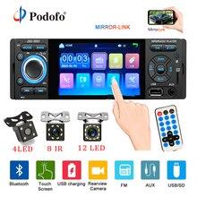 Podofo автомобиля радио 1din jsd-3001 Авто 4 дюймов сенсорный экран Аудио Зеркало Ссылка стерео Bluetooth заднего вида камера usb aux плеер