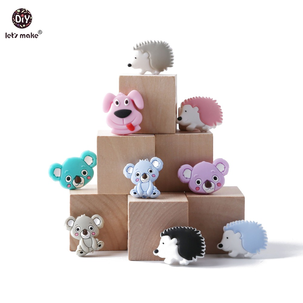 Let's Make 6pcs Silicone Koala Teething Beads Bpa Free Food Grade Silicone Chew Toys Handmade Diy Crafts Jewelry Baby Teether