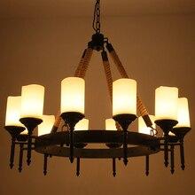 Lámpara colgante de cuerda de altar industrial Vintage de país americano para comedor, cuerda de hierro, sala de estar, bar, iluminación colgante