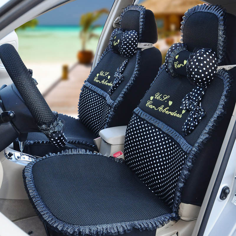 Polka Dot Lace Car Seat Covers Fashion Cushion Steering Wheel Cover Cool In Automobiles From