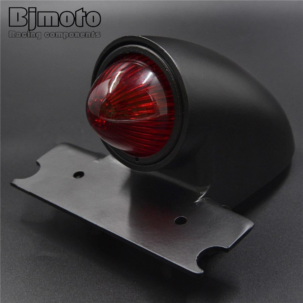 BJMOTO Motorcycle Aluminum 12V 10W Red Bulb License Plate Mount Bullet Tail Brake Light For Harley Bikes Bobber Choppers Custom