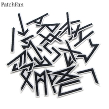 Patchfan Viking runes 24pcs Embroidered Iron on Patches para Clothing Clothes Appliques cosplay bag shoes badges Stickers A0947