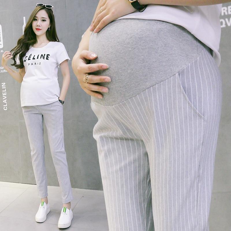Vertical Stripes Cotton Belly Maternity Pants Elastic Waist Pencil Trousers Clothes for Pregnant Women Pregnancy Pants