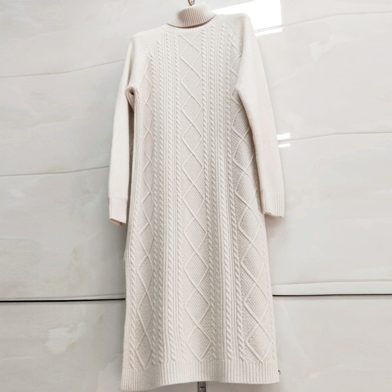 2019 Thick Straight Dress Autumn Winter Loose Sweater Dress Women Knitted Jumper Soft Warm Female Slim Sweater Dress Split Side