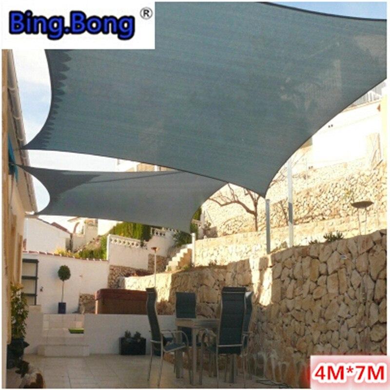 Extérieur 4 7 m soleil ombre voile PU polyester imperméable tissu gazebo auvent auvent qualité ombrage jardin tente toldos carré net chaud