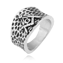 Mens Vintage Biker Ring Silver Color Freemason Illuminati Triangle Masonic Rings Punk Jewelry J02511