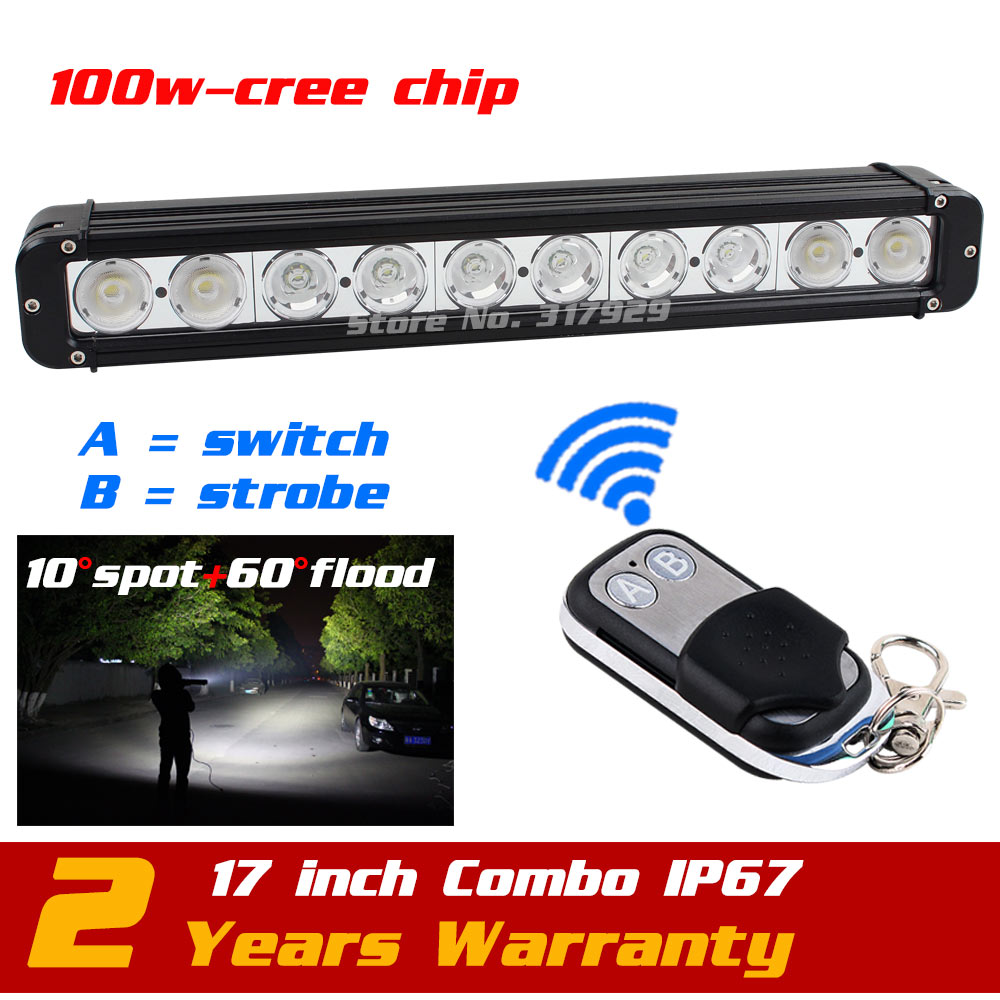 17 100w Led Light Bar 12v 24v Wireless Remote Strobe Light