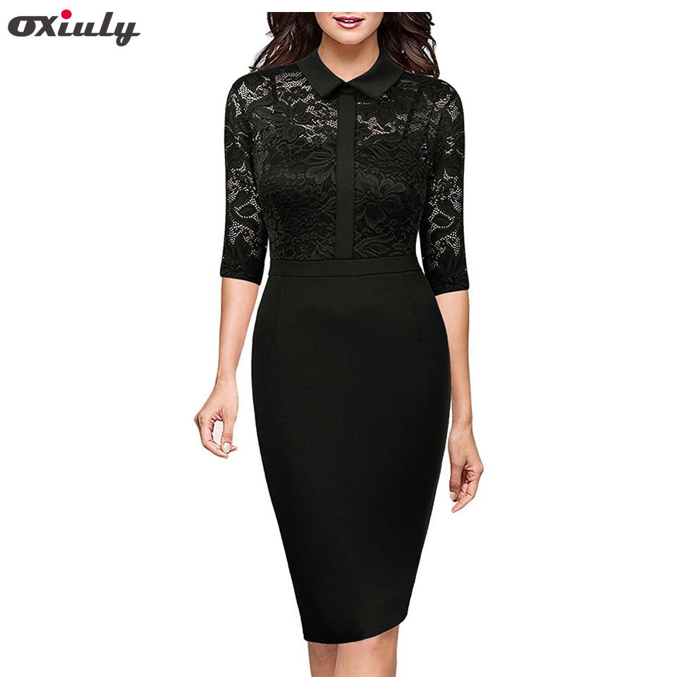 Oxiuly Autumn Bodycon Flower Lace Dress Office Wearing Floral Slash Sexy Evening Women Party Sheath Black
