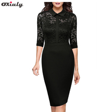 Oxiuly Autumn Bodycon Flower Lace Dress Office Wearing Floral Slash Sexy Evening Women Party Sheath Black Dress Vestidos