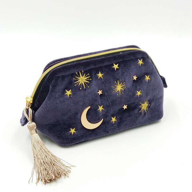 Cute Velvet Embroidery Cosmetic Bag Travel Organizer Women Makeup Bag Zipper Make Up Pouch with Moon Star Tassel Deco 6