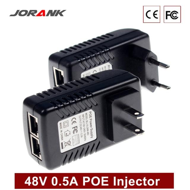 Monitoreo JORANK Cctv 48 V 0.5A 24 vatios enchufe de pared POE inyector Ethernet adaptador Ip Cámara Poe teléfono alimentación suministro de enchufe de EE. UU.