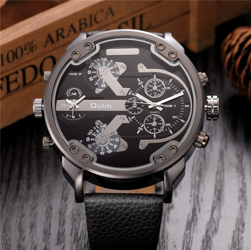 Oversized Men's Big Watch Luxury Brand Famous Unique Designer Quartz Watch Male Large Watches Men Oulm relogio masculino 7