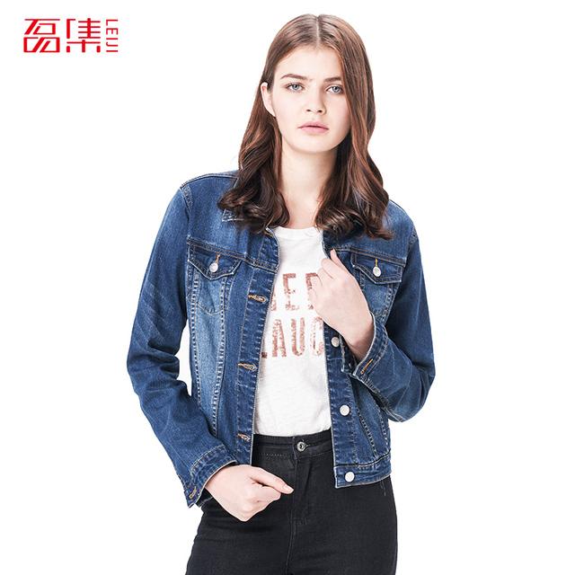 Leiji Moda S 6XL Plus Size 2016 Mulheres inverno Sólida Azul Luz Jaqueta de algodão Denim Lavado mulher Collar Manga Comprida jeans Casacos