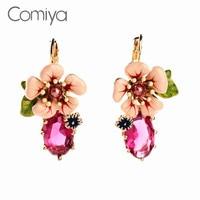 Comiya New Pink Flower Crystal Drop Earring Wedding Jewelry Dangle Statement Earrings For Women Ally Express Fashion Bijoux
