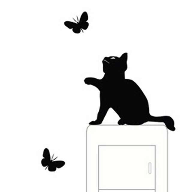 10 개/대 고양이 벽 장식 스위치 비닐 데칼 스티커 장식 만화 벽 스티커 adesivo 드에서 parede 파라 사절의