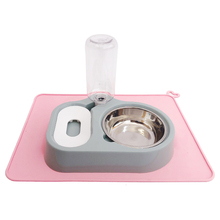Dog Double Bowl Puppy Food Water Feeder Cute Stainless Steel Pets Travel  Automatic Dispenser