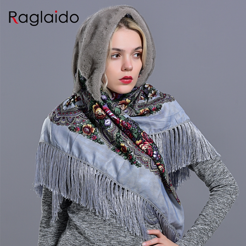 mink fur hood hats for women winter fashionable luxury girls female warm stylish real fur elegant tassel scarf hatWomens Bomber Hats   -