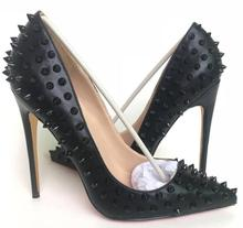 2018 Fashion Red sole Shoes New Arrival High Heels Dress party Shoes Super Stiletto High Heel Rivets Pumps all black matte
