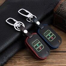 Étui pour clé de voiture en cuir, pour Honda Vezel City, Civic Jazz CRV Crider HRV, étui pour clé intelligente à 2 boutons, couture à la main