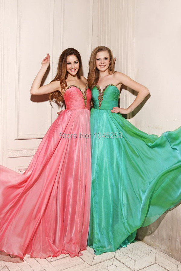 Elegant Floor Length Chiffon Sweetheart Prom Dress...