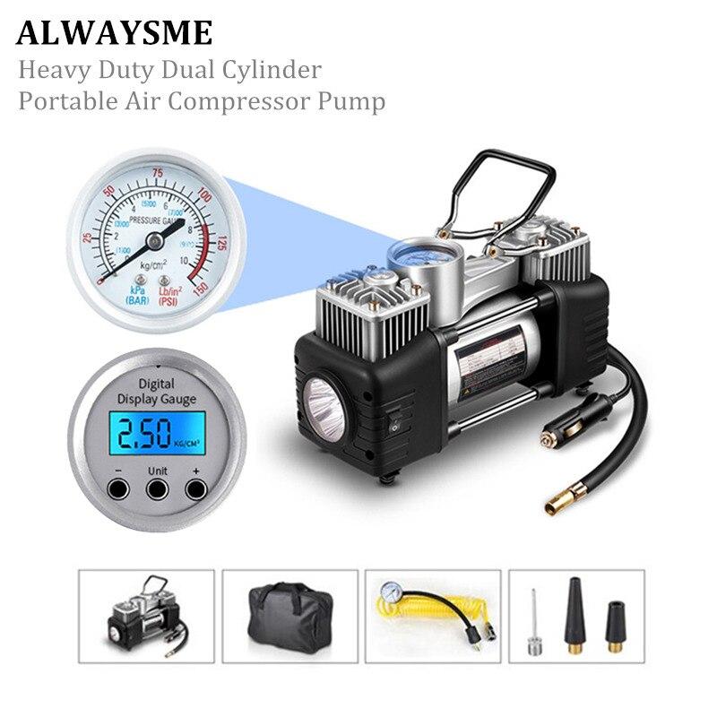 ALWAYSME Heavy Duty Dual Cylinder Portable Air Compressor Pump: With Light , 12V /30A 150 PSI ,Two Motor 300W, 50L/Min