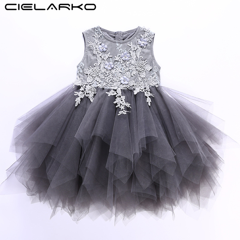 Cielarko Girls Party Dress Elegant Sleeveless Kids Wedding Dresses Tulle Formal Baby Ball Gown Fancy Children Girl Clothing Grey
