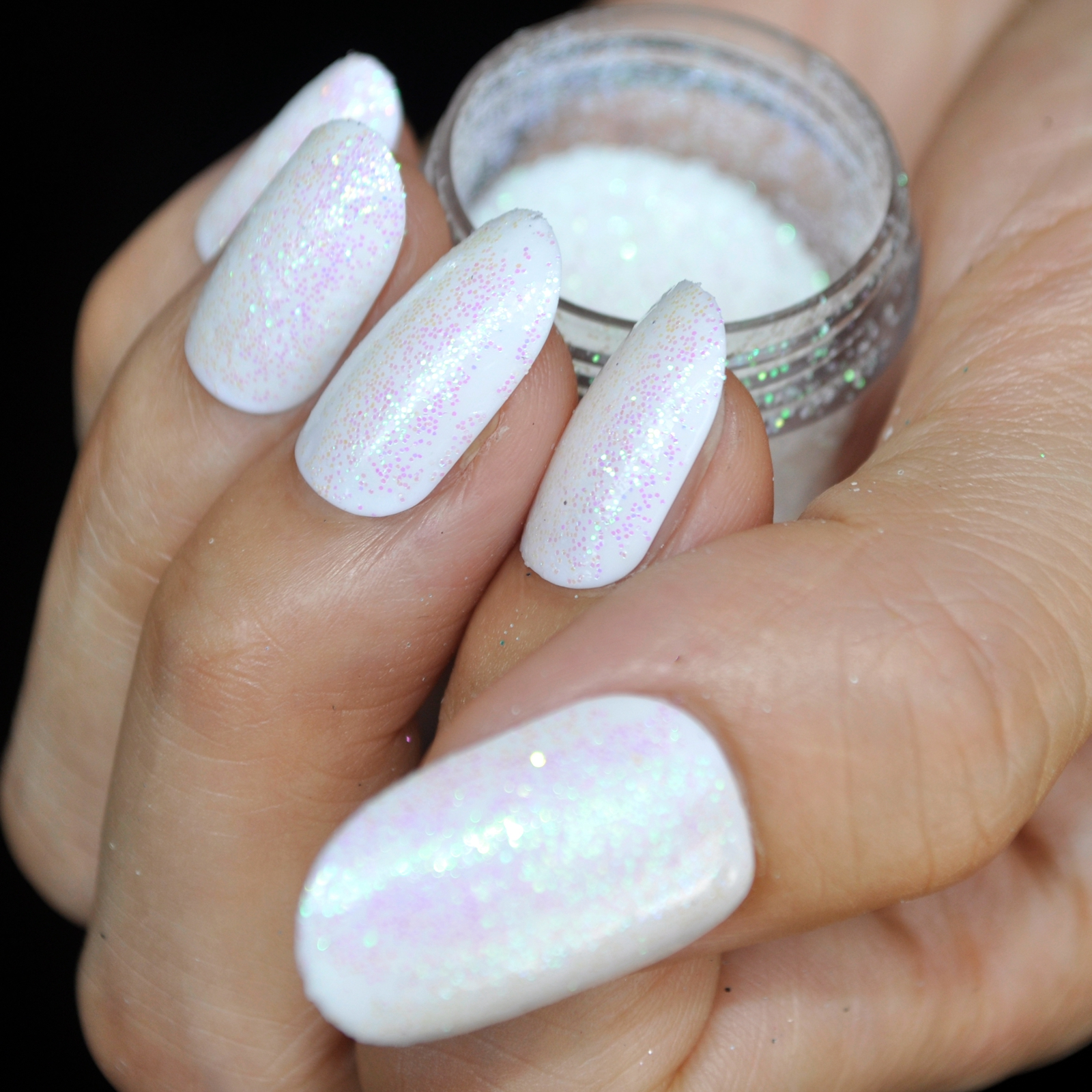 White Nail Polish And Glitter Hession Hairdressing