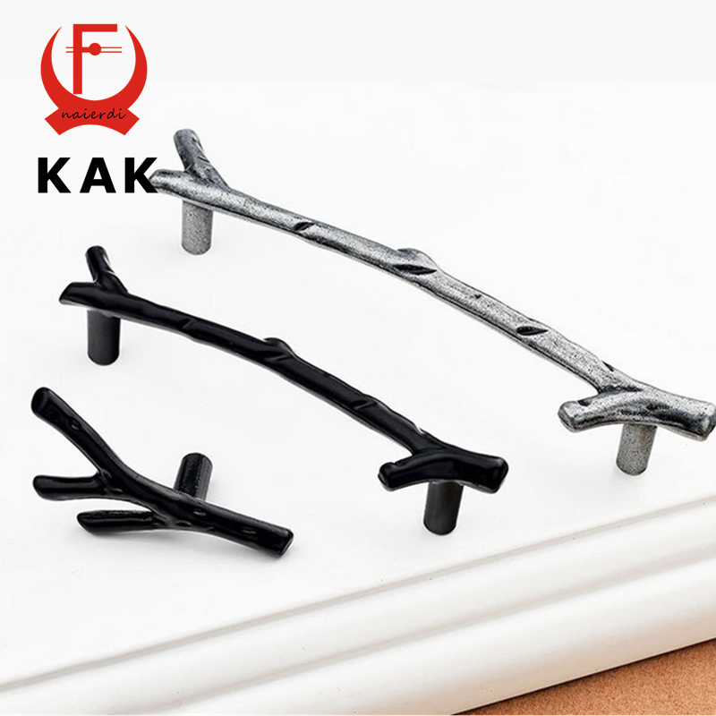 KAK 10PCS Creative Black Silver Tree Branch Handles 96mm 128mm Kitchen Cabinet Drawer Door Handles Pulls Knobs Furniture Handles