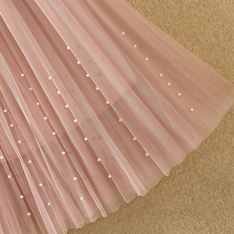 HTB1SZlZPkvoK1RjSZPfq6xPKFXaP - New Spring Summer Skirts Womens Beading Mesh Tulle Skirt Women Elastic High Waist A Line Mid Calf Midi Long Pleated Skirt