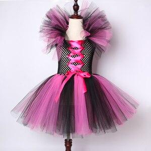 Image 2 - Dziewczyny czarownica Tutu sukienka gorące różowe i czarne dzieci Halloween karnawał Cosplay strój czarownicy dzieci sukienek dla dziewczynek 2 12Y