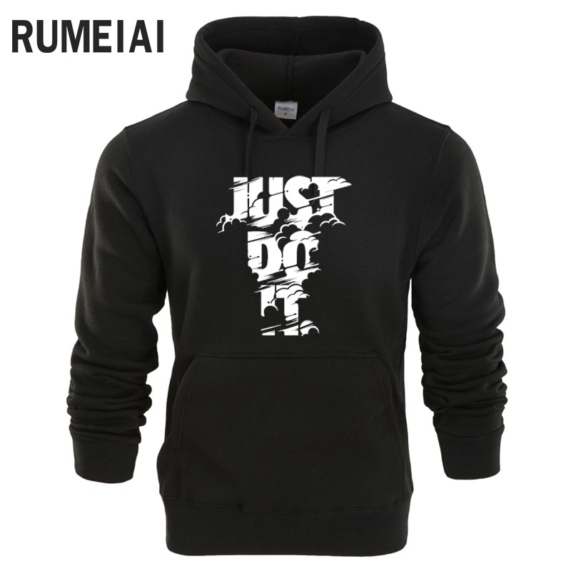 RUMEIAI Neue 2018 Hoodies Männer Langarm-kapuzenshirt Blitz NUR TUN ES print Sweatshirt Mens Casual Marke Kleidung Hoody Jacke