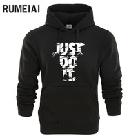 RUMEIAI New 2018 Hoodies Men Long Sleeve Hoodie Lightning JUST DO IT Print Sweatshirt Mens Casual