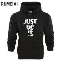 RUMEIAI New 2018 Hoodies Men Long Sleeve Hoodie Lightning JUST DO IT Print Sweatshirt Mens Casual