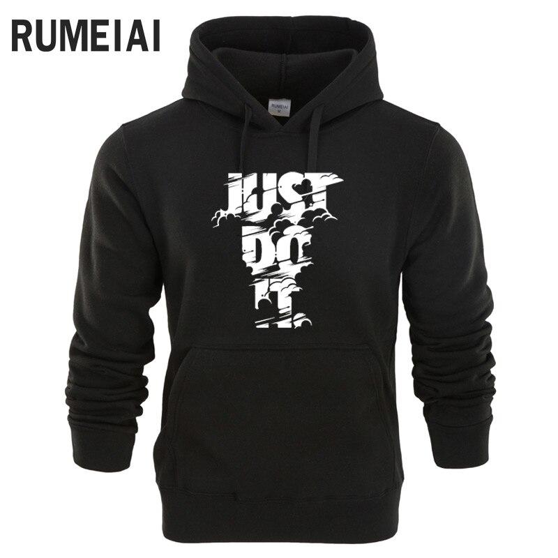 Rumeiai Новый 2018 Толстовки Для мужчин Толстовка с длинным рукавом Lightning Just Do It свитшот с принтом Для мужчин S Повседневное брендовая одежда куртка с капюшоном