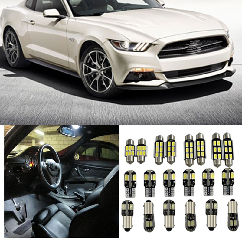 Tcart 6 x Error Free For ford <font><b>mustang</b></font> gt accessories <font><b>2015</b></font> up White Interior <font><b>LED</b></font> Light Package Kit reading Indoor lights image