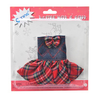 E TING Doll Clothes Claus Couture Clothing For Elf Girls Suit Lifestyle Bowknot Red Plaid Denim