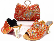 Shoes and matching clutch bag ladies wedding shoes and bag to match Italian shoes and bag set With Orange Color