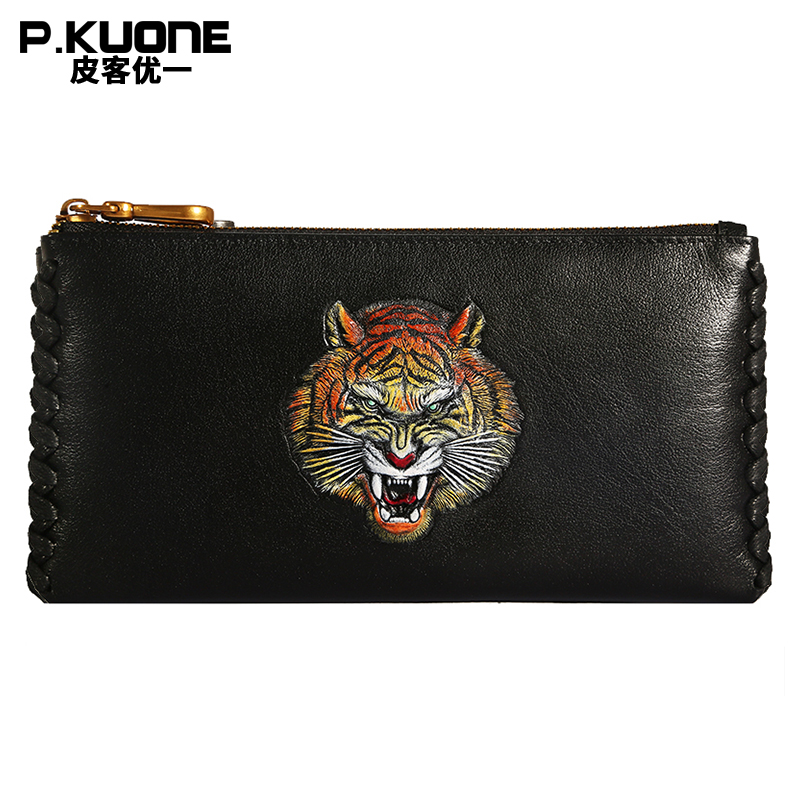 P.kuone luxury genuine leather bag men handbag fashion 3D tiger printed male clutch vitaly mushkin la chasse au sexe attraper la fille nue