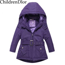Christmas Girls Coats and Jackets Winter  Girls Jacket Hooded Kids Coat with Sashes Roupas Infantis Menina Girls Outerwear