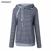 Women Plus Size S 3XL Hoodies 2017 Autumn Winter Female Black And White Striped Casual Cotton