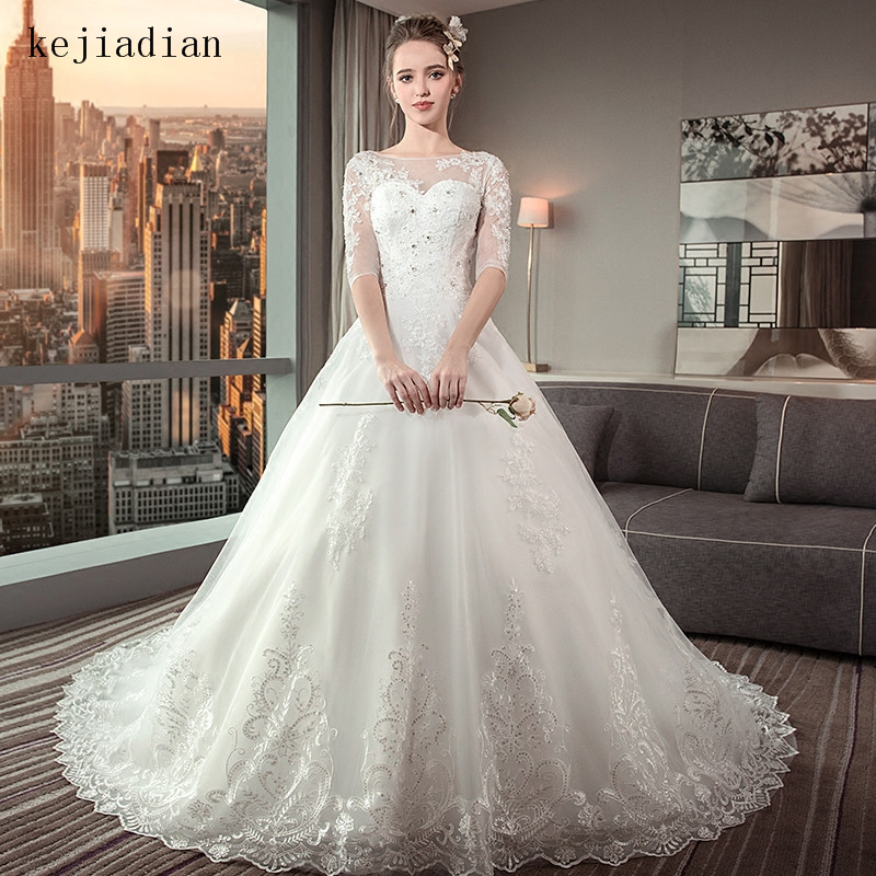 White Plus Size Lace Wedding Dress Ball Gown Scoop Half