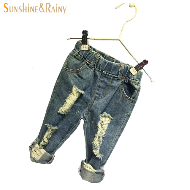 Fashion Ripped Jeans For Kids Baby Girl Jeans Pants For Boys Enfant Garcon Children High Waisted Denim Pant 2~7 Age
