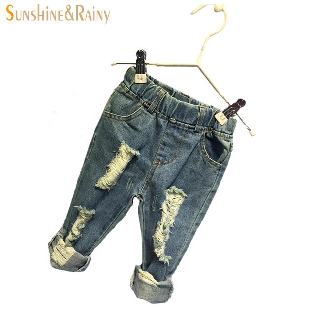 Moda Jeans Rasgado Para Crianças Do Bebê Da Menina Calças Jeans Para Os Meninos Enfant Garcon Crianças Jeans de Cintura Alta Calça 2 ~ 7 Anos de Idade