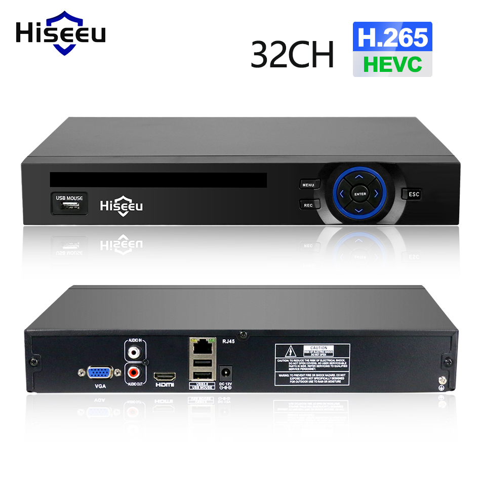 Hiseeu 2HDD 25CH 5MP 32CH 1080P 8CH 4K CCTV H.264 / H.265 NVR DVR Network Video Recorder Onvif 2.0 til IP Camera 2 SATA XMEYE P2P