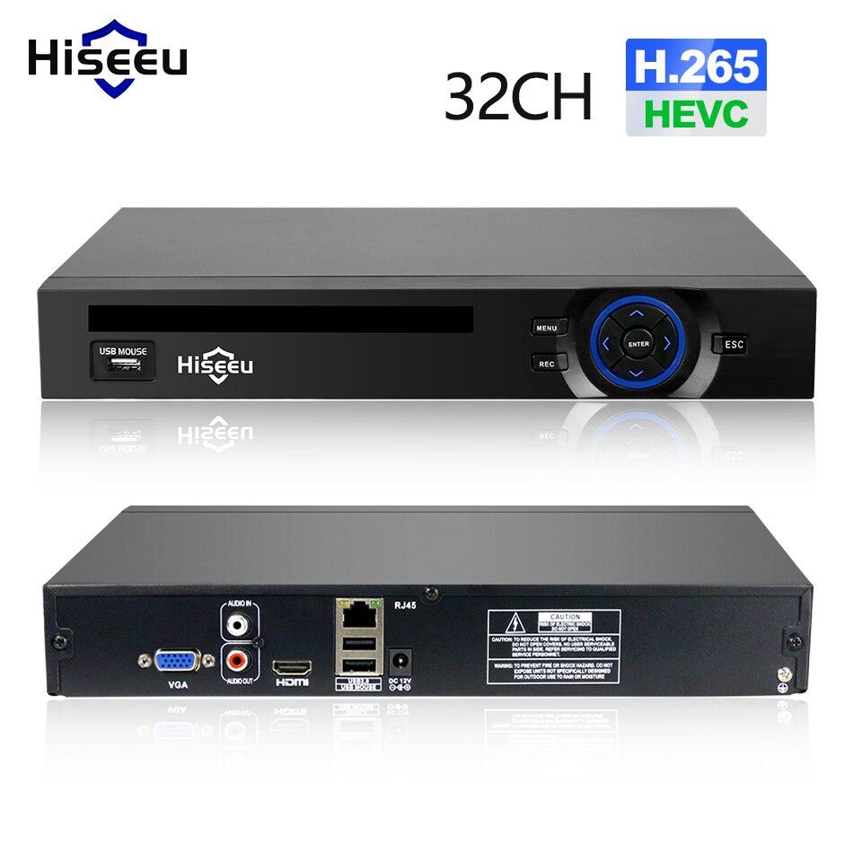 Hiseeu 2HDD 25CH 5MP 32CH 1080 P 8CH 4 К CCTV H.264/H.265 NVR видеорегистратор сетевой Регистраторы Onvif 2,0 для IP Камера 2 SATA xmeye P2P