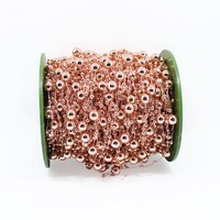 60M Plated Rose Gold Rose Flower Artificial Pearls Bead Garland Wedding Bridal Bouquet Decoration DIY Party Supplies