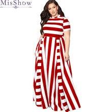 Женское Макси длинное в пол Повседневное платье размера плюс 3XL 4XL для девушек летнее Полосатое вечернее платье с коротким рукавом для женщин Vestido