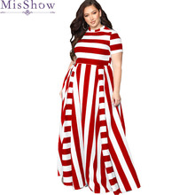 Women Maxi Long Floor Length Casual Dress Plus Size 3XL 4XL Ladies 2019 Summer Striped Short Sleeve Party Dresses Female Vestido 2019 plus size party dresses women summer long maxi dress casual slim elegant dress bodycon female beach dresses for women 3xl